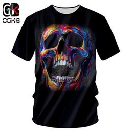OGKB Summer Top Funny Print Colorful Skull 3D T-shirt per uomo / donna Hiphop Streetwear O Neck manica corta Tee Shirt Plus Homme