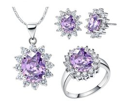 Women Fashion 2018 New Jewelry set Sexy Purple Crystal sun-flower shape Pendent necklace earrings ring set female accessory gift 1 set from knuckle self defense manufacturers