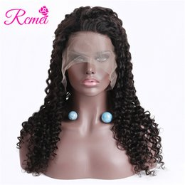 peruvian deep wave full lace wigs NZ - Rcmei Peruvian Human Hair Full Lace Wigs Deep Wave Unprocessed Natural Color 150% Density Natural Headline 8-26 Inch Free shipping
