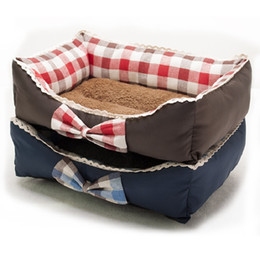 Large Housing Australia - New Arrival House Soft Warm Bow Lace Square Red Blue Grid Cat Dog Bed Cute Kennel Nest Dog Fleece Camas Para Perros