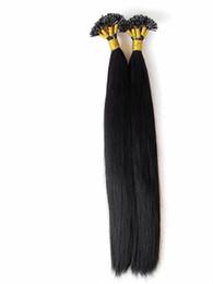Venta al por mayor de Pelo virginal humano brasileño Cabello liso Extensiones de cabello pre-unidas Jet sin procesar / Negro natural Color marrón oscuro Extremo grueso