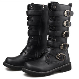 Motorcycle Boots 45 Canada - New Arrival Designer Men Long Boot Black Round Toe Lace Up Buckle Strap Skull Charm PU Leather Motorcycle Boots Male Winter Shoes Size 37-45