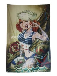 $enCountryForm.capitalKeyWord UK - Tattoo Ladies Flag Banner Sexy lady Beauty Cartoon and Art Home Decoration Hanging flag 4 Gromments in Corners 3*5FT 144cm*96cm