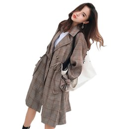 22a75f1f9c2 Winter Fashion Women Plaid Oversize Trench Ladies Double Breasted Lapel  Drawstring Swing Windbreaker Mujer Duster Long Cape Coat