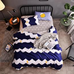 Black White Rose Bedding Australia - AB side Dark blue + white wave Bedding Set Bed Sheet+duvet Cover+pillowcase Reactive Printing bedding set High-quality
