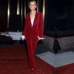3fc34ec398b Wine Red Women Business Suits Velvet Formal Work Wear 2 Piece Sets Blazers Office  Uniform Styles Ladies Elegant Pantsuit Custom