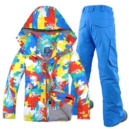 GSOU SNOW Brand Men Ski Suit Windproof Waterproof Hooded Breathable Skiing  Snowboard Jacket Pant Outdoor Sport Wear Winter Suit d0b740878