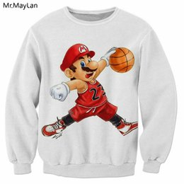 super mario clothing 2019 - Cartoon Cute Super Mario Playing 3D Print Sweatshirts Men Women Hipster Streetwear Pullover Coat Outerwear Boy White Clo