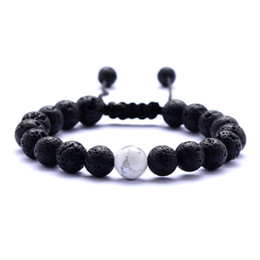 $enCountryForm.capitalKeyWord Australia - 8MM White Black Lava Stone Essential Oil Diffuser Bracelet Woven Hand Strings Bracelets for Women Jewelry