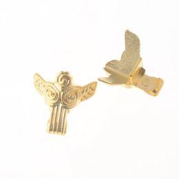 $enCountryForm.capitalKeyWord Australia - Free shipping 4Pcs Gold Tone Jewelry Gift Box Wood Case Decorative Metal Feet Leg Corner Protector 27x31mm