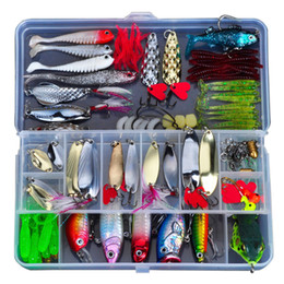Discount fishing soft plastic baits - Plastic Lure Fishing Kit Metal Lure Soft Bait Wobbler Frog Lure Spoon Metal Tackle Hard Bait Pliers Fishing Tackle