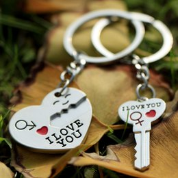 Romantic paiR keychain online shopping - New Pair Couple I LOVE YOU Letter Keychain Heart Key Ring Silvery Lovers Love Key Chain Souvenirs Valentine s Day Gift G293Q