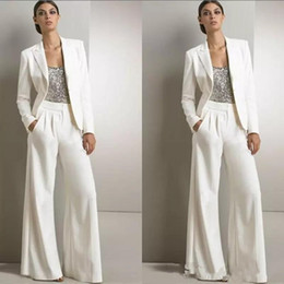 Navy blue dress suit online shopping - 2018 New Modern White Three Pieces Mother Of The Bride Pant Suits Silver Sequined Wedding Guest Dress Plus Size Mother Dresses With Jackets