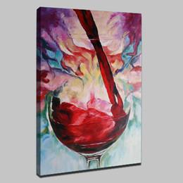 Красное вино Mintura Oil Painting со 100% ручной росписью на холсте для гостиной - Современный холст 6 без рамки