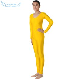 e77cc57acb9 Yellow Lycra Headless Zentai Suit Spandex Full Body Skin Tight Jumpsuit  Unitard Dancewear Bodysuit Costumes For Women