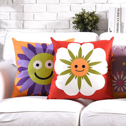 smile soft case Australia - Smile Sun Flower Cushion Covers Colorful Floral Giraffe Butterfly Soft Pillow Case 5 Styles 45X45cm Bedroom Sofa Decoration