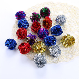 Color plastiC paper online shopping - Kitty Toy Ringing Paper Flower Ball Mylar Crinkle Cat Toys Interactive Portable Pet Supplies Pure Color cj bb
