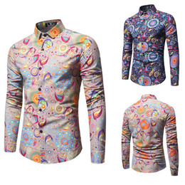 62aa0e4be3b Spring Men Flroal Printed Casual Shirt Cotton Stylish Long Sleeves  Turn-down Collar Single Breasted Homme Clothing M-3XL Size