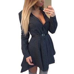 $enCountryForm.capitalKeyWord UK - Long Sleeve Mini Dress Tails Women Turn Down Collar Cotton V Neck Summer Dot Dress Pleated Dresses Female Vestidos