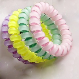 styles for braided hair 2018 - wire sound 3PCS Popular Mulit-color Telephone Wire Gum For Ladies Bracelet For Women Middle Size 5cm Elastic Ring Hair B