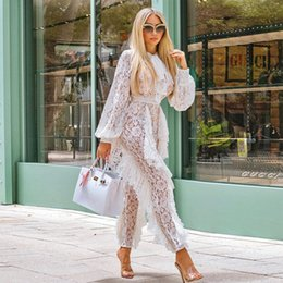 High Quality Jumpsuits Australia - Elegant White Lace Jumpsuit High Quality Women Sexy See Through Long Sleeve Celebrity Show Night Party Jumpsuits Wholesale 2018