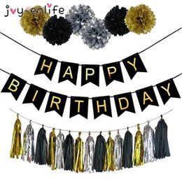 Birthday Banners kids online shopping - Home Decor Joy Enlife Birthday Party Decoration Paper Flower Ball Tassels Boy Girl Happy Birthday Banner Baby Shower Kids Party Supplies