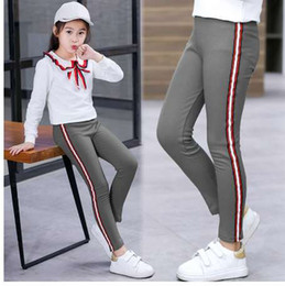 striped pants for kids NZ - Spring Autumn Kids Girls Leggings Side Striped Elasticity Children Pants Cotton Skinny Trousers for Girls School Sport Leggings