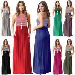 ad30c6b30d4 Order t shirts whOlesale online shopping - 8styles Summer Sleeveless  Striped Long dress Round Neck Slim