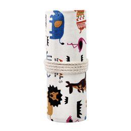 36 color pencils online shopping - Handmade canvas oil brush box art sketch color pencil bag art pencil case Send pencils