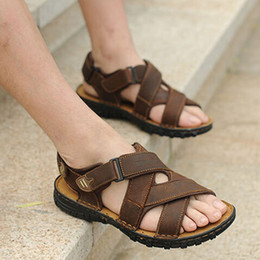 21e2f78f1d96 Great Top Quality Genuine Leather Male Business Casual Sandals New Classic  Style Nubuck Leather Men Leisure Sandal Shoes