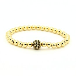 Platinum mens gifts online shopping - mm Real Gold Rose Gold Platinum Plated Copper Round Beads With mm Black Cz Stretch Mens Bracelet