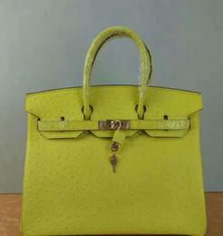 b565109b6a alta qualità 35 CM delle donne H platino borse vera pelle genuina lady  totes bag in pelle di struzzo hardware con chiave di blocco VERDE