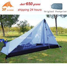Gear Doors Australia - 3F UL Gear Rodless Tent 650g Ultralight 15D Silicone Single Person Camping Tent 1 Person 3 Season 1 Man With Footprint
