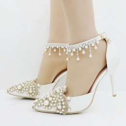 Beautiful Shoes For Women Canada - New Fashionl sexy pointed toe shoes for women White pearls high heel wedding shoes thick heels Beautiful rhinestone Plus Size Shoes