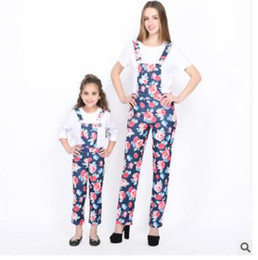 24219038dd6 Plus Size Mother and Daughter Matching Clothing Overalls 2018 Summer Floral  Suspenders Pants Mother and Daughter Clothes Family Clothing