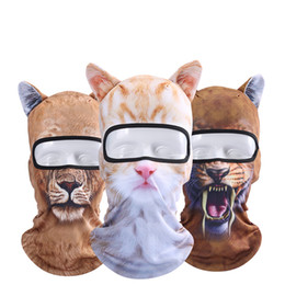 Chinese  3D Print Custom Animal Cat Dog Design Balaclava Motorcycle Hat Cycling Cap Veil Snowboard Windproof Full Face Mask 9styles manufacturers