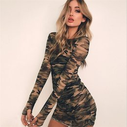 be5b06db3cb1d Sexy Women Camo Long Sleeve Straight Dress Ladies Bodycon Party Night Club  Perspective Camouflage Dress Clothes Women