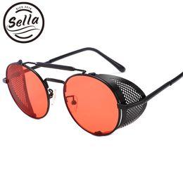 Mirror Tint Sunglasses NZ - Sella Retro Classic Alloy Frame Steampunk Sunglasses Women Men Clamshell Vintage Round Tint Mirror Lens Gothic Glasses Eyewear