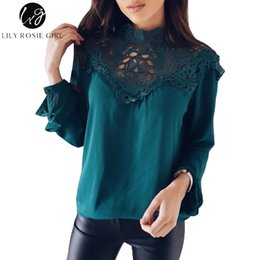 Lily Rosie Girl Hollow Out Green Lace Donna Primavera Camicie 2018 Estate manica lunga bianca Top Casual Solid Camicette Camicetta nera