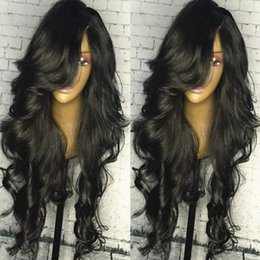 $enCountryForm.capitalKeyWord Australia - Body Wave 5*4.5 Silk Top Full Lace Wigs with Natural Hairline with Bangs Silk Base Top Wig Virgin Peruvian Lace Front Wigs