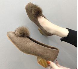 $enCountryForm.capitalKeyWord NZ - Free send Coarse heel low heel Square head women Korean autumn and winter new style suede Plus velvet warm Hair ball single shoes