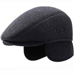 a465dfc49611ed HT2055 Men Winter Hat Thick Warm Beret Hats with Earflap Elder Man Cabbie  Newsboy Ivy Flat Cap Casual Wool Beret Caps for Men