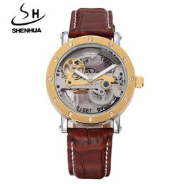 men dress automatic watches 2019 - SHENHUA Steampunk Transparent Skeleton Crystal Flywheel Automatic Leather Strap Dress Men Mechanical Watch relogio mascu