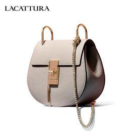 Multi Color Ladies Handbags Australia - LACATTURA women messenger bags cowhide leather handbag ladies Chain shoulder bags clutch fashion crossbody bag brand candy color Y18102903