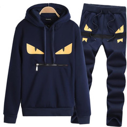 Blue pullover sweater online shopping - Simple Fashion Mens Little Monster Prints Designer Tracksuits Men s Hooded Long Sleeved Sweater Trousers Casual Two Piece