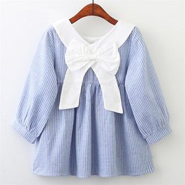 lolita clothes wholesale NZ - Baby girls dress 2018 new Lolita style girls pink long sleeves doll collar bow striped dress children's clothes H133