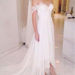 Robe Mariage Plus Size NZ - 2018 Sexy Elegant Lace Appliques Boho Hi Lo Wedding Dresses Bridal Gowns Robe de Mariage Beach Wedding Gowns Plus Size Free Shipping