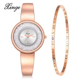 roses suits UK - wholesale Brand Watch Female Fashion Watch Set Wristwatch Bracelet Waterproof Simple Elegant Creative Rose Gold Watches Suit