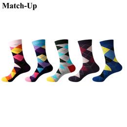 Sock Packs Australia - Match-Up Men Colored diamonds Cotton Socks argyle Casual Crew Socks 5-Pack Shoe Size 6-12