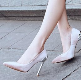 Spring Women Velvet NZ - Women Pumps Metal High Heels Shoes Velvet Thin Heels Pumps Spring Slip On Pointed Toe Party Dress Shoes Woman
